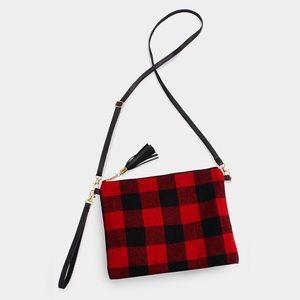 Buffalo Plaid Black Red Checked Crossbody Wristlet
